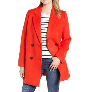 NWOT Madewell Hollis Top Coat in Bright Poppy